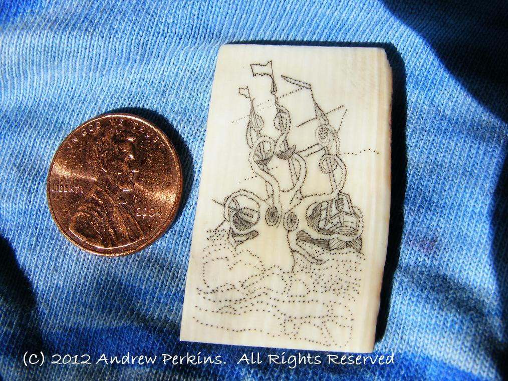 Scrimshaw of the Kraken as of 2012-04-15 Masts and planks completed