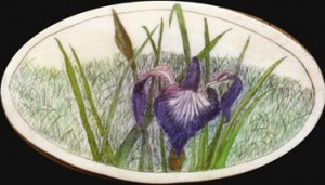 Andrew Perkins Iris scrimshaw on a Nantucket Backet