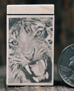 Ron Luebke scrimshaw of a tiger