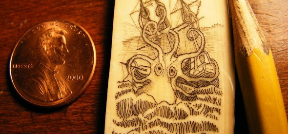 Kraken scrimshaw - Just a little clean up and it's complete!