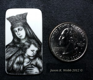 Mother and Child scrimshaw on piano key ivory with quarter shown for scale
