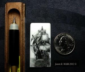 Jason Webb Scrimshaw of a ship in full sail on piano key - quarter shown for scale.