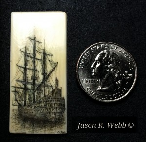 Jason R. Webb's Scrimshaw Ship with masts stowed