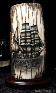 Whaling Bark scrimshaw of a ship on ancient mammoth ivory
