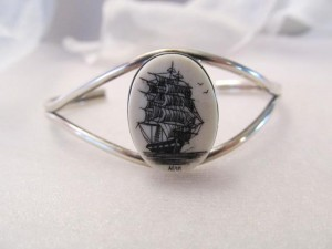 "Scrimshaw ""Allen"" on bracelet. Artist unknown"