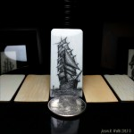 Jason R. Webb scrimshaw artist - Ship #6 on antique ivory photo #8 20130214_123414