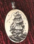 Scrimshaw ship necklace