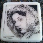 Scrimshaw Portrait on corian of a woman