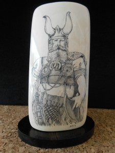 Viking Warrior Display Piece by Belle Ochs on wood stand
