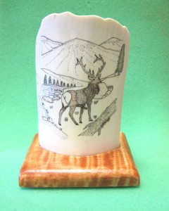Elk Scene on ivory with wood base