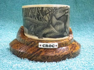 Crocodile scrimshaw by Rod Lacey