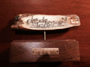 Hunting Scene on mammoth ivory by Skip Powell in 1987
