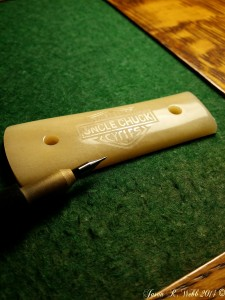 Scrimming complete, no ink yet on the camel bone handle.