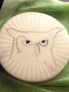 Owl on casein in progress