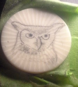 Owl on casein medallion in progress