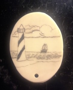 Casein Scrimshaw drilled at the bottom by mistake