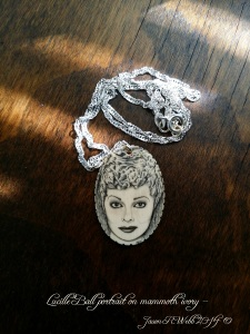 Lucille Ball scrimshaw with sterling silver chain