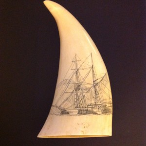 Left side of Mystery Artist #20 tooth #2 showing a ship
