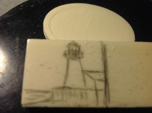 Preliminary lighthouse drawing on bone scale