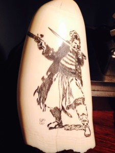 Another shot of David Weir's Pirate on a whale tooth