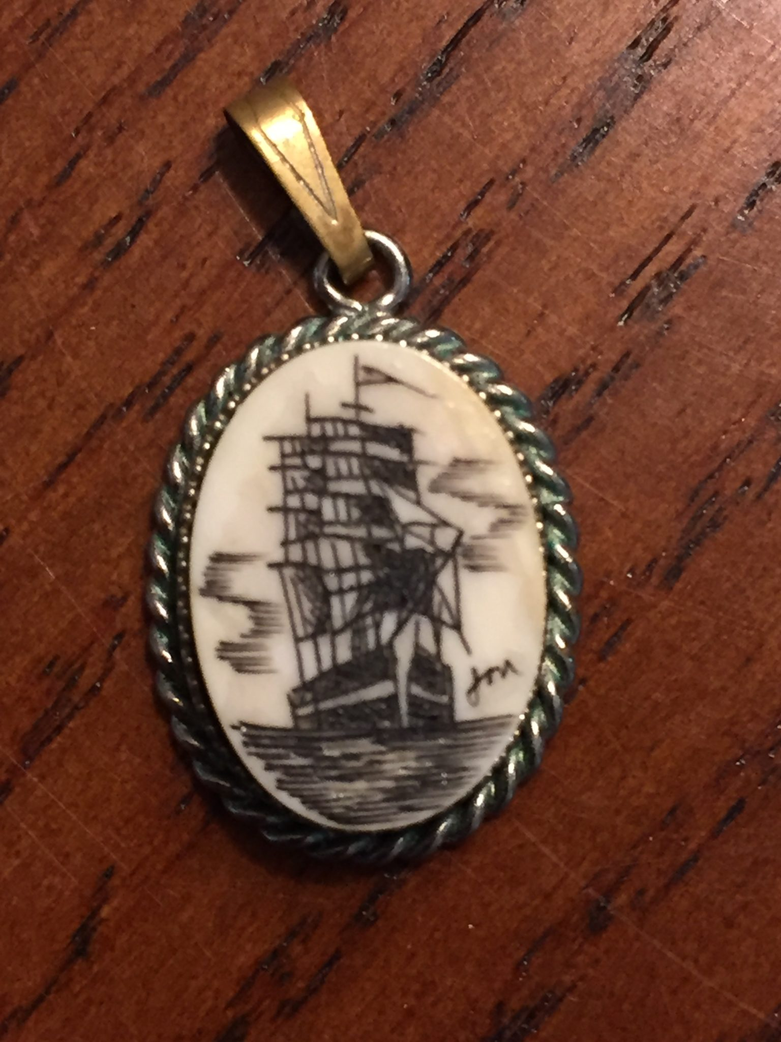 Mystery Artist 25 Necklace Charm of a ship at sea in full sail