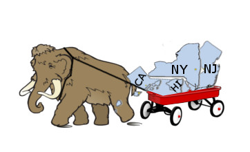 Mammoth dragging states in wagon