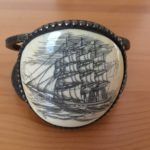 Pewter and ivory bracelet of a ship in full sail