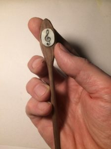 G-Clef scrimshawed into alt ivory on walnut hair stick